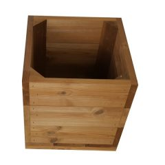 small square thermowood planter sideview plain