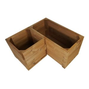 thermowood corner square planter set plain