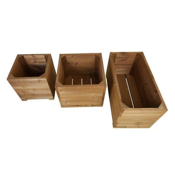 thermowood triple square planter set plain