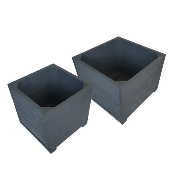 Amberley Grey Painted Double Square Planter Set