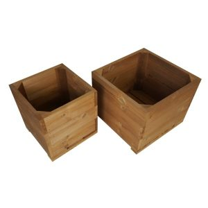 thermowood double square planter set plain