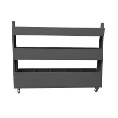 Amberley Grey Painted 3-Tier Impulse Queue Divider Display Stand 1200x260x940 side view