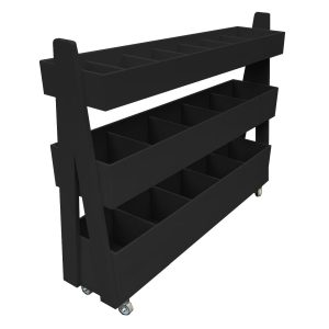 Mobile Black Painted 3-Tier Impulse Queue Divider Display Stand 1200x260x940