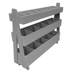 Mobile Gretton Grey Painted 3-Tier Impulse Queue Divider Display Stand 1200x260x940