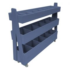 Mobile Kingscote Blue Painted 3-Tier Impulse Queue Divider Display Stand 1200x260x940
