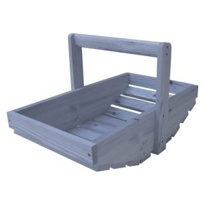 Kingscote Blue painted rustic garden trug plain