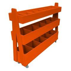 Mobile Orange Painted 3-Tier Impulse Queue Divider Display Stand 1200x260x940