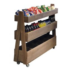 Rustic Brown Rustic 3-Tier Queue Divider Display Stand 1200x260x940