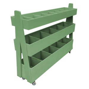 Mobile Tetbury Green Painted 3-Tier Impulse Queue Divider Display Stand 1200x260x940