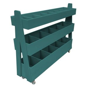 Mobile Turquoise Painted 3-Tier Impulse Queue Divider Display Stand 1200x260x940