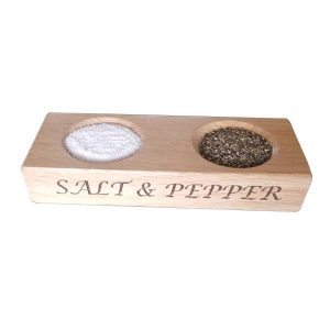 oak salt and pepper pinch bowls full plain
