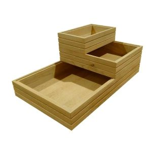 ribbed oak stacker box stacked plain