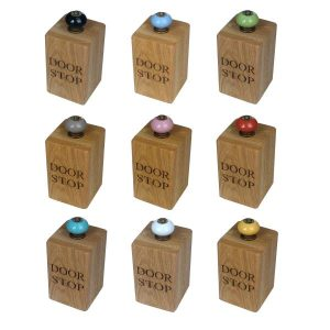 solid oak doorstops with colourful door knobs selection plain