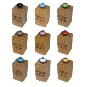 solid oak doorstops with colourful door knobs selection plain