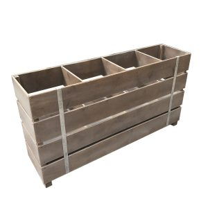 weathered Rustic 4 Bin Impulse Merchandise Display Stand 1200x300x640