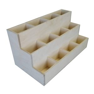 Stained 3 Tier 12 Compartment Cutlery and Condiment Holder