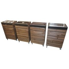 4 rustic brown crate Gastronorm trolleys in row plain