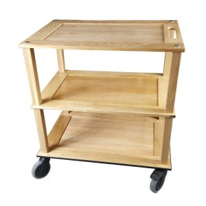 Burford Lacquered Oak Hospitality Trolley side view