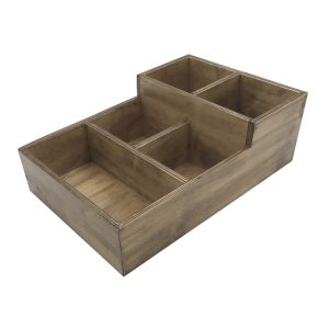 Distressed Rustic 2-Tier 5 Compartment Cutlery & Condiment Holder 360x240x120