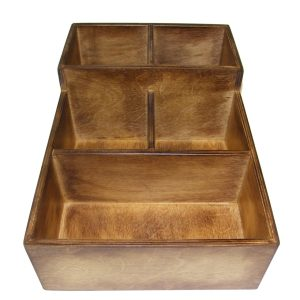 Distressed Stained 2 tier 5 compartment cutlery and Condiment unit