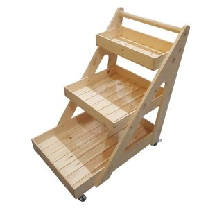 Natural Stained 3 tier trolley on casters without inserts plain