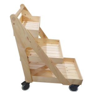 Natural Stained 3 tier trolley on wheels without inserts profile plain