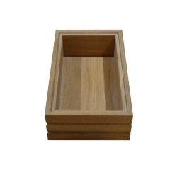 Small Ribbed Hospitality Trolley Oak Stacker Box