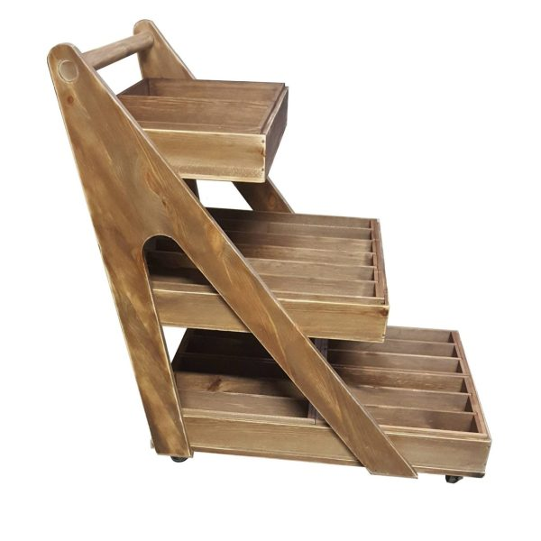 Rustic 3-Tier A-Frame Trolley on Casters