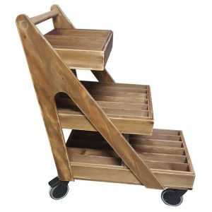 Rustic Brown Stained 3 Tier A-Frame Trolley on wheels with inserts plain