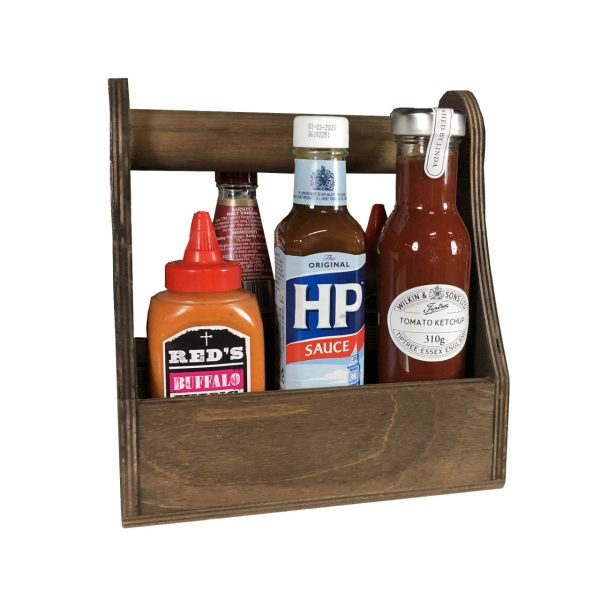 dark brown rustic condiment caddy 215x165x230 in use cut out
