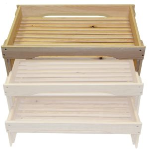 high GN1/1 rustic slatted tray riser in set
