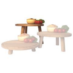 lacquered high oak milking stool in set