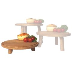 lacquered low oak milking stool in set