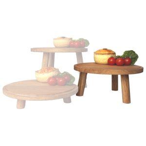 lacquered medium oak milking stool in set