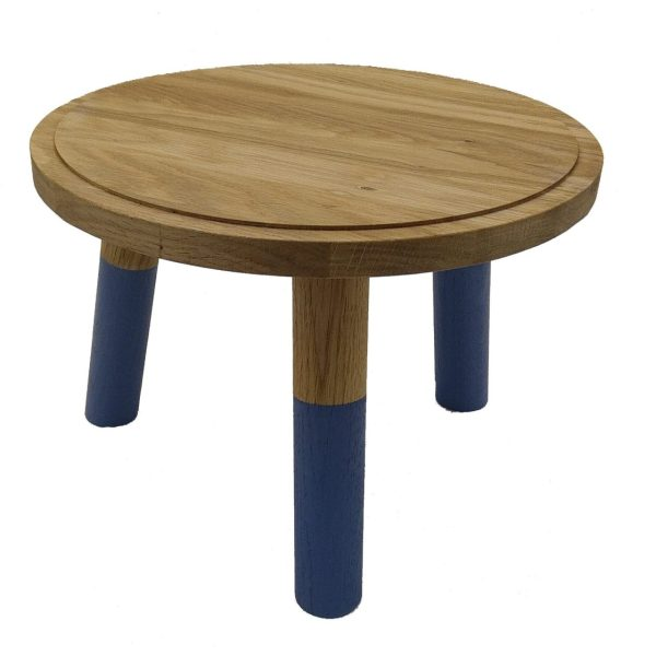 Kingscote Blue Dipped Oak Milking Stool 290Dx210