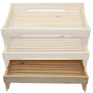 low GN1/1 rustic slatted tray riser in set