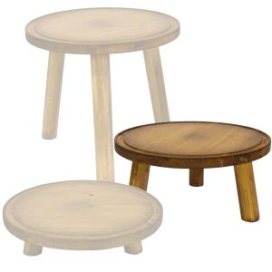 medium 140mm pine milking stool in set