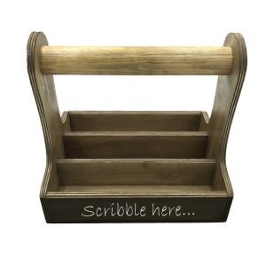 rustic brown blackboard cutlery caddy 250x195x230 front view