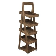 Rustic 4-Tier Slanted Wooden A-Frame Display Stand 450x515x1800