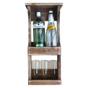 2 gin bottle & glass wall mounted rustic rack in use