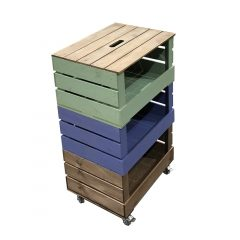 3 Crate Painted Mobile Tower Storage Unit 500x370x852