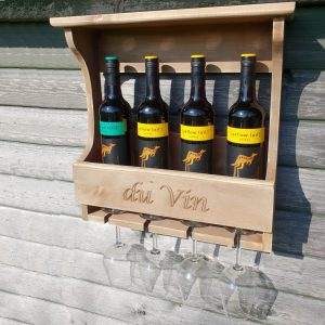 Personalised 4 Glass & Bottle Wall Mounted Rustic Wooden Wine Rack 470x135x460