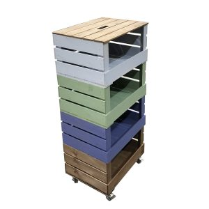 4 Crate Painted Mobile Tower Storage Unit 500x370x1110