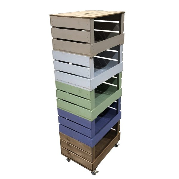 5 Crate Painted Mobile Tower Storage Unit 500x370x1368