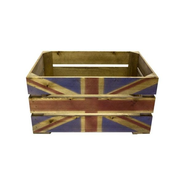 Rustic Union Jack Crate 500x370x250