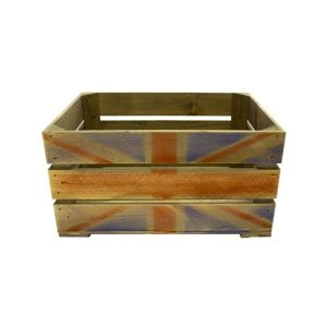 500mm rustic weathered union jack crate