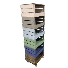 6 Crate Painted Mobile Tower Storage Unit 500x370x1626