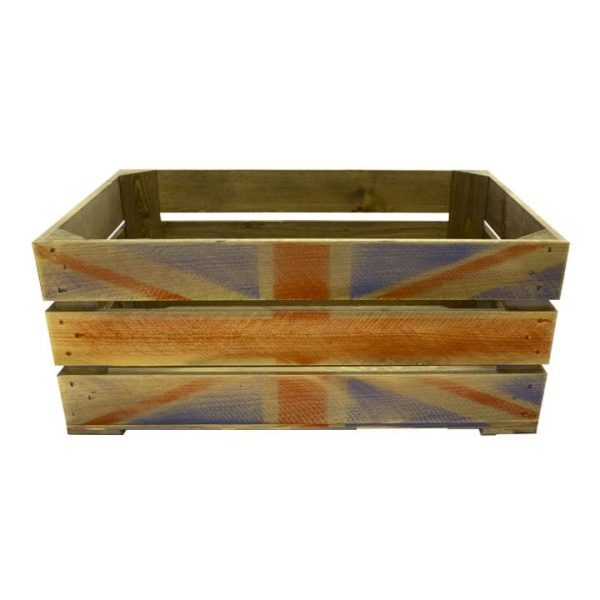 Rustic Weathered Union Jack Crate 600x370x250