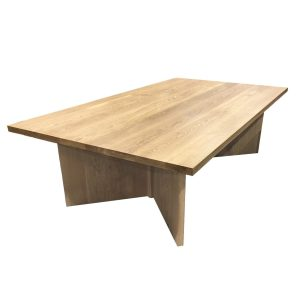 9ft broadway oak dining table angle view