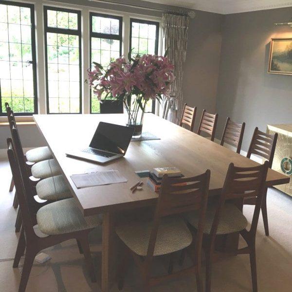 9ft broadway oak table in use